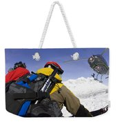 Group Heli Skiing, Helicopter Taking Weekender Tote Bag