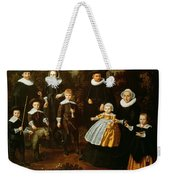 Group Portrait Of Three Generations Of A Family In The Grounds Of A Country House Oil On Canvas Weekender Tote Bag