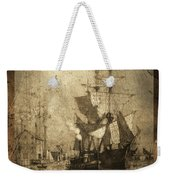 Grungy Historic Seaport Schooner Weekender Tote Bag by John Stephens