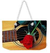 Guitar With Single Red Rose Weekender Tote Bag