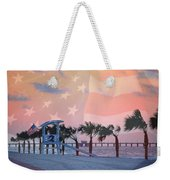 Gulf Shores Beach With Flag Weekender Tote Bag