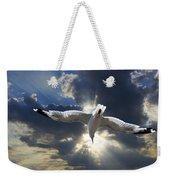 Gull Flying Under A Radiant Sunburst Weekender Tote Bag