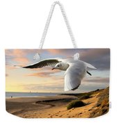 Gull On The Wing Over Beach Landscape Weekender Tote Bag