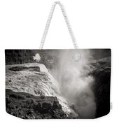 Gullfoss Iceland In Black And White Weekender Tote Bag