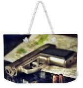 Gun With Bullets And Map Weekender Tote Bag by Jill Battaglia