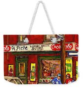 H. Piche Grocery - Goosevillage -paintings Of Montreal History- Neighborhood Boys Play Street Hockey Weekender Tote Bag