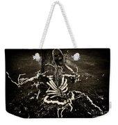 Halloween Green Skeleton Vinette Black And White Weekender Tote Bag