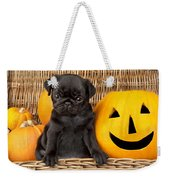 Halloween Pug Weekender Tote Bag by Greg Cuddiford