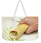 Hand Holding A Burrito Weekender Tote Bag