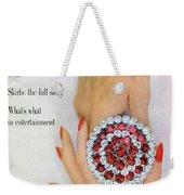 Hands Holding A Coro Rhinestone Pin Weekender Tote Bag