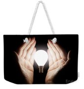Hands Holding Light Bulb Weekender Tote Bag