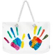 Hands Painted Stamped On Paper Weekender Tote Bag