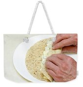 Hands Wrapping Egg Salad Wrap Weekender Tote Bag