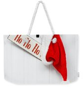 Hanging Santa Hat And Sign Weekender Tote Bag by Amanda Elwell