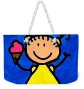 Happi Arte 3 - Little Girl Ice Cream Cone Art Weekender Tote Bag by Sharon Cummings