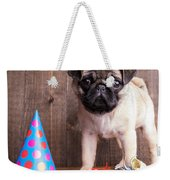 Happy Birthday Cute Pug Puppy Weekender Tote Bag by Edward Fielding