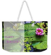 Happy Birthday Water Lily Weekender Tote Bag