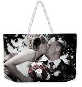 Happy Bride And Groom Kissing Weekender Tote Bag