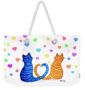 Happy Cats And Hearts Weekender Tote Bag