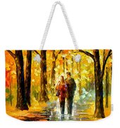 Happy Couple - Palette Knife Oil Painting On Canvas By Leonid Afremov Weekender Tote Bag