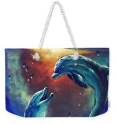 Happy Dolphins Weekender Tote Bag by Marco Antonio Aguilar