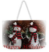Happy Holidays - Christmas - Snowman Collection - Greeting Cards Weekender Tote Bag