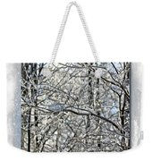 Happy Holidays Greeting - Icicles On Trees Weekender Tote Bag