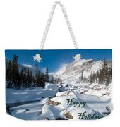 Happy Holidays Snowy Mountain Scene Weekender Tote Bag