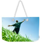 Happy Man On The Summer Field Weekender Tote Bag