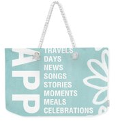 Happy Things Blue Weekender Tote Bag by Linda Woods