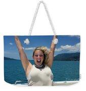 Happy Woman On Holiday  Weekender Tote Bag
