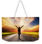 Happy Woman Standing On Long Road At Sunset Weekender Tote Bag