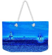 Harbor Of Refuge Lighthouse And Sailboat Abstract Weekender Tote Bag