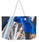 Harley Close-up Blue Flame  Weekender Tote Bag