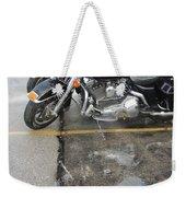 Harley Close-up Rain Reflections Wide Weekender Tote Bag
