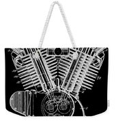 1923 Harley Davidson Black And White Engine Patent Weekender Tote Bag