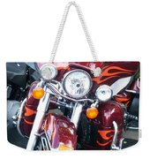 Harley Red W Orange Flames Weekender Tote Bag