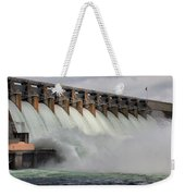 Hartwell Dam With Flood Gates Open Weekender Tote Bag