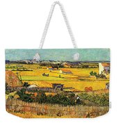 Harvest At La Crau With Montmajour In The Background Weekender Tote Bag by Vincent Van Gogh