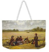 Harvesters Resting In The Sun, Berkshire, 1865 Oil On Canvas Weekender Tote Bag