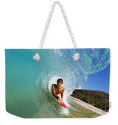Hawaii, Maui, Makena - Big Beach, Boogie Boarder Riding Barrel Of Beautiful Wave Along Shore. Weekender Tote Bag