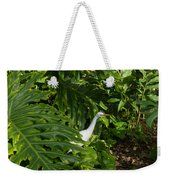Hawaiian Garden Visitor - A Bright White Egret In The Lush Greenery Weekender Tote Bag