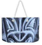 Hawaiian Mask Negative Cyan Weekender Tote Bag