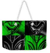 Hawaiian Masks Black Green Weekender Tote Bag