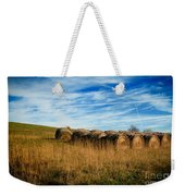 Hay Bales And Contrails Weekender Tote Bag