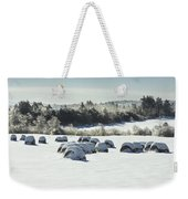 Hay Bales Covered With Snow And Ice In Maine Weekender Tote Bag