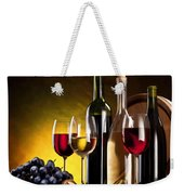 Hdr Style Wine Glasses Bottle Cask And Grapes Weekender Tote Bag
