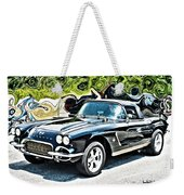 Chevrolet Corvette Vintage With Curly Background Weekender Tote Bag