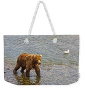 Head Grizzly Bear And Sea Gull In Moraine River In Katmai Np-ak  Weekender Tote Bag