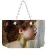 Head Of A Young Woman Weekender Tote Bag by Pierre Auguste Renoir